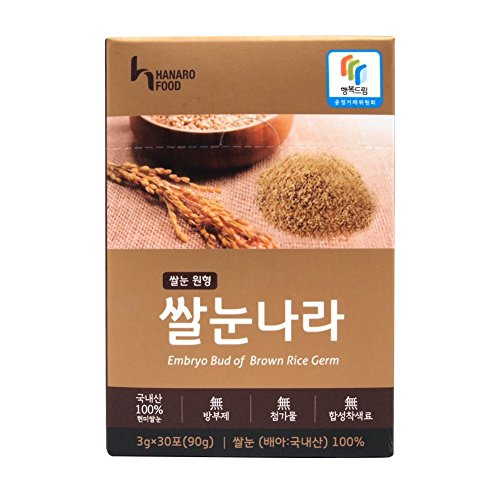 Healthy Dietary Food, Brown Rice Embryo, Brown Rice Powder, Gaba, Octacosanol, Omega 3, vitamin B, daily fiber with essential nutrients made by Hanaro Food 30 Packs 1 box total 30 pcs.