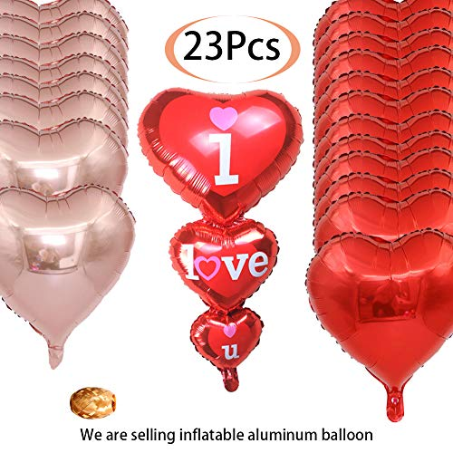 (Byson 12+8+1+2 12 Red + 8 Rose Gold 18-Inch Heart-Shaped Balloon And 1 I LOVE YOU Tandem heart Foil Balloon Helium Supported Valentine's Day Wedding Birthday Decorations,2 Ribbons Included)
