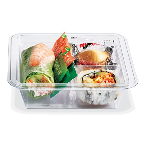 PLACON Fresh'n Clear GOCUBES Set: 12 oz Clear Plastic Container with 3-Compartment Clear Insert Tray and Clear Lid, (50 SETS), PET Material