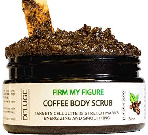 DELUGE - 100% Organic Arabica Coffee Scrub 8 oz. Exfoliate Dead Skin Cells, Natural Remedy for Anti-Cellulite and Stretch Marks, Spider Veins. Two in One Moisturizing and Exfoliator. 8 oz Net Weight