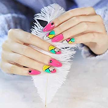 Amazon Full Cover False Finger Nails Fake Pointed Nails Art