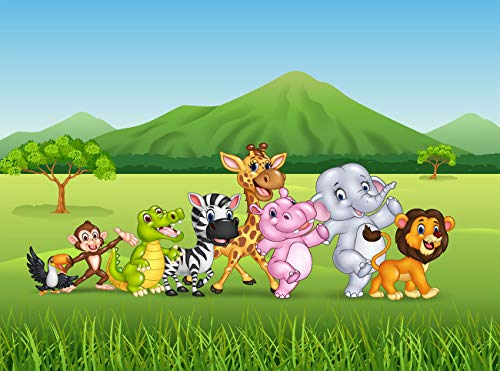 Cartoon Safari Animals Backdrop Happy Birthday Photography Background 7x5ft Seamless Personalized Birthday Backdrop with Name for Kids