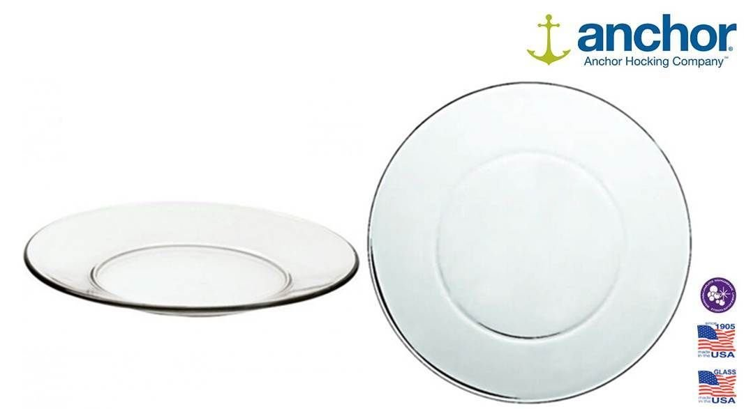 2 Anchor Hocking 86037 Large Glass Pie Dinner Plate Serving Dish 10
