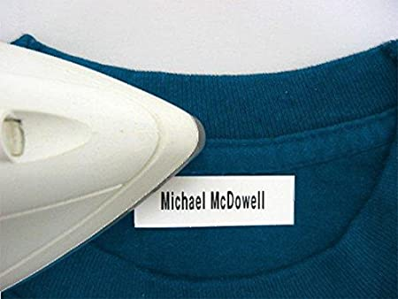 100 Pre-Cut Iron On Personalized Clothing Name Labels / Tags for Nursing Homes, Camp, College, Day Care and Uniforms w/ Font Choice