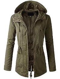 Womens Zip Up Military Anorak Jacket W/Hood