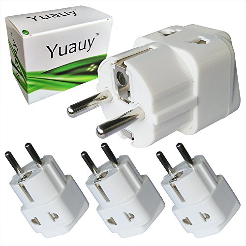 Yuauy 3 PCs 2 in 1 America US USA to EU Europe Euro Charger Adapter Wall Plug Power Jack Converter for Germany France Europe Russia Grounded Travel Home (Pc Usa Adapter)