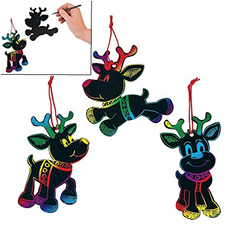 Magic Color Scratch Reindeer Christmas Ornaments (24 Pcs) - Crafts for Kids & Ornament -