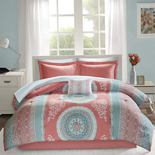 Hemau Premium New Soft Loretta Comforter Set Queen Size Bed in A Bag - Coral, Aqua, Bohemian Chic Medallion – 9 Piece Bed Sets – Ultra Soft Microfiber Teen Bedding for Girls Bedroom   Style 503196420 -