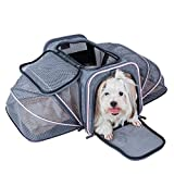 Petsfit 19''x12''x12'' Expandable Foldable Washable Travel Carriers,Travel Pet Carrier Soft-sided Two Extension (Grey and Pink Trim)