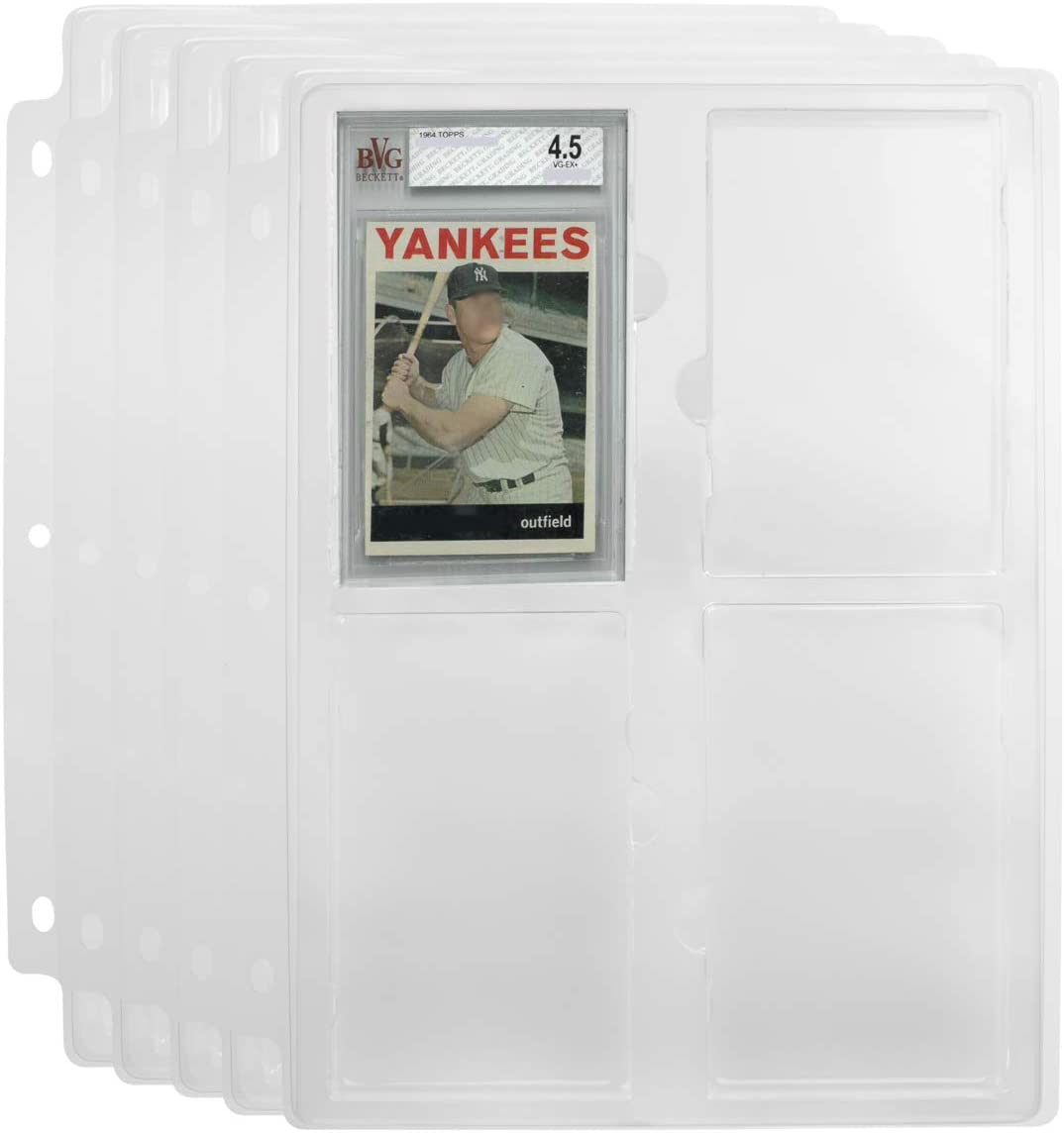 Simply Genius 5 Pack Collectible Cards Slabs Storage Tray Holder for Graded Sports Cards and Trading Cards Binder Tray 3 Ring Trading Card Binder Pages Fits Cards Graded by Beckett