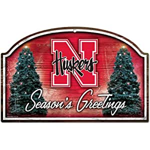 NCAA Nebraska Cornhuskers 11-By-17-Inch Season's Greetings Wood Sign
