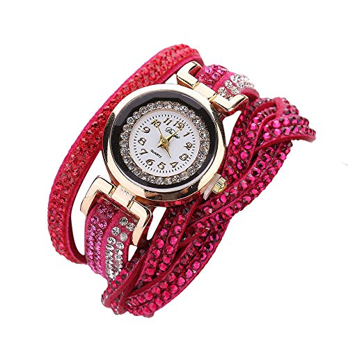 YaidaDuoya Brand Watches Women Luxury Crystal Women Gold Bracelet Quartz Wristwatch Rhinestone Clock Ladies Dress Gift Watches (Hot Pink)