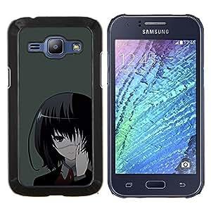 Una Eyed Girl japonés- Metal de aluminio y de plástico duro Caja del teléfono - Negro - Samsung Galaxy J1 / J100