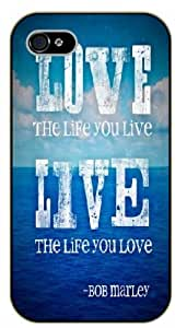 """LJF phone case iPhone 6 (4.7"""") Bob Marley Quotes - In hight tide or low tide, I'll be by your side - black plastic case / Inspirational and Motivational"""