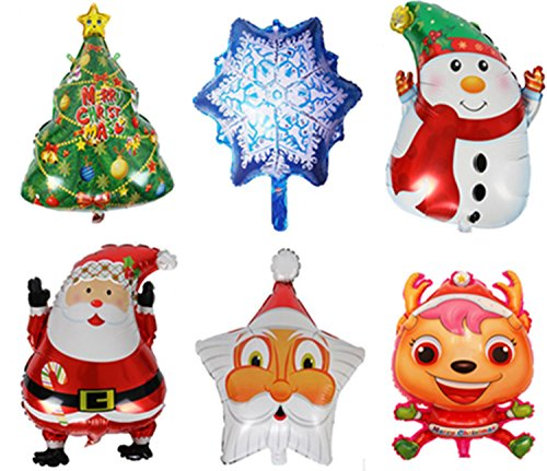 King&Pig 6pcs/set Christams Foil Mylar Helium Aluminum film balloons for Party Brithday Festival Christmas decorations (Santa Claus/Santa Claus head/Snow/Christmas tree/Reindeer/Snowman)