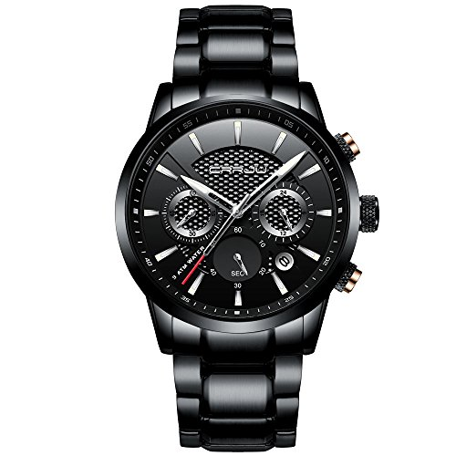- CRRJU Brand Men's Business Casual Chronograph Quartz Waterproof Wristwatch Black Stainless Steel Strap