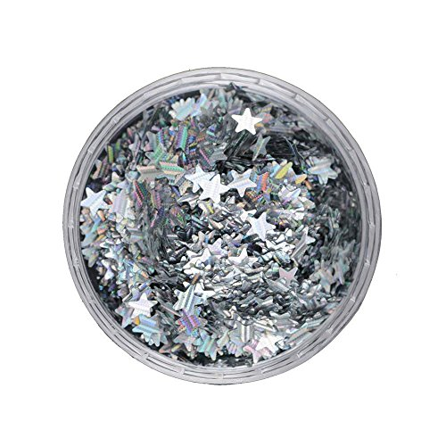 Gracefulvara 2 Box 1.5g Nail Art Glitter Star Shape Holographic Sequins (Black Star Sparkle)