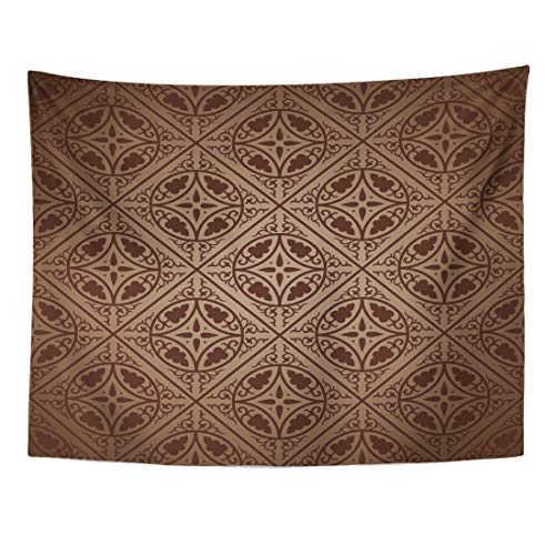 Emvency Tapestry 60 x 50 Inches Brown French Byzantine Elegant Old Damask Floral Abstract Antique Baroque Tapestries Wall Hanging Art Home Decor for Bedroom Dorm Living Room