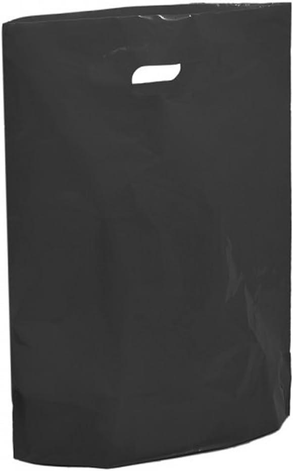 Bolsas de plástico negro – 15 x 18 x 3 pulgadas bolsa de color grande – reutilizables al por menor mercado Traders Fashion Colored Carriers