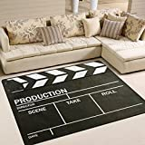 ALAZA Movie Clapper Board Black Area Rug Rugs for Living Room Bedroom 5'3 x 4'
