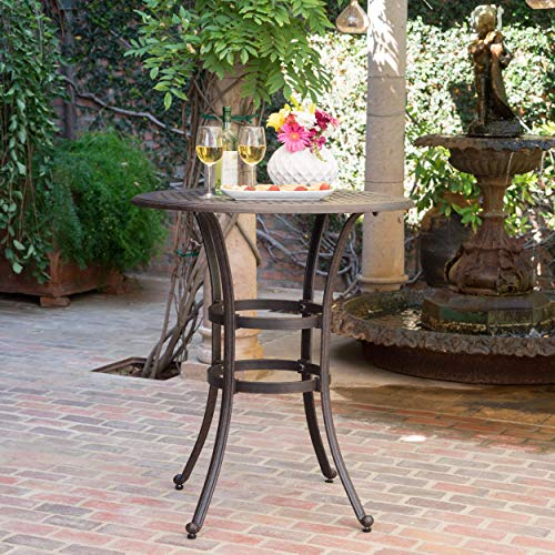 Outdoor 37-inch Cast Aluminum Round Bar Table with Umbrella Hole, Timeless Design, This Round Outdoor Bar Table is the Perfect Addition to your Patio, Backyard, Garden, Featuring Attractive Grillwork (Aluminium Sets Garden Cast Furniture)
