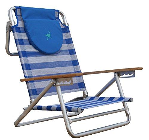 Ostrich South Beach Sand Chair, Blue/White (Ostrich 3n1 Deluxe Face Down Beach Lounger)
