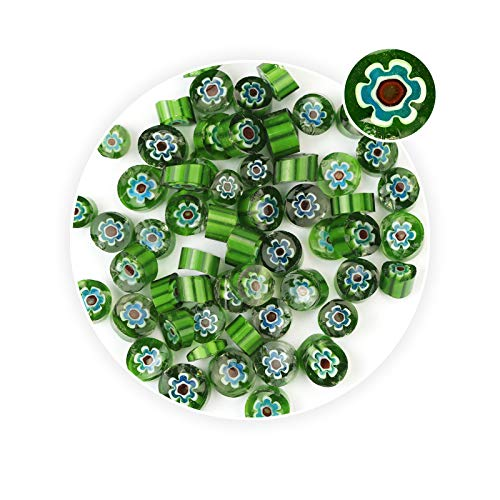 Pendant Millefiori Glass (Green &Red Flower Pattern Millefiori Glass Beads DIY Jewelry Making Earrings)