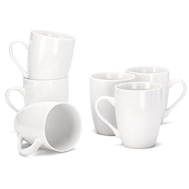 MIWARE 12 Ounce Porcelain Mugs, Set of 6, Tea and Coffee Mug Set, White