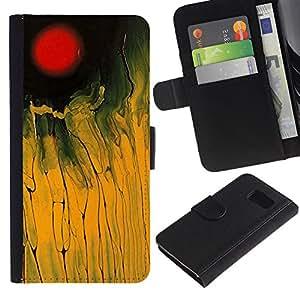[Neutron-Star] Modelo colorido cuero de la carpeta del tirón del caso cubierta piel Holster Funda protecció Para Samsung Galaxy S6 [Champ Rouge Jaune Noir peinture abstraite]