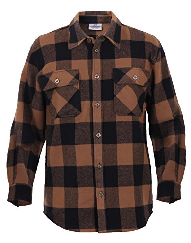 Flannel Multi Plaid - Rothco HW Plaid Flannel Shirt, Brown, 2X/3X/4X/XX-Large