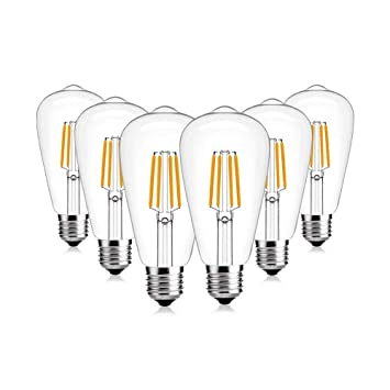 Bombilla De Chupete Retro Edison LED E27, 4W (Temperatura De Color 2700K), Blanco Cálido, Regulable - Paquete De 6: Amazon.es: Hogar