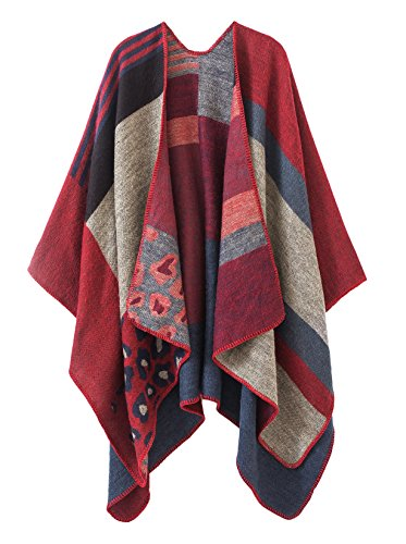 Urban CoCo Women's Color Block Shawl Wrap Open Front Poncho Cape (Red-series 2)