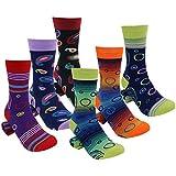 Fun Crew Dress Socks, Diwollsam 6 Pack Men's Women's Cotton Funky Colorful Fashion Dress Socks