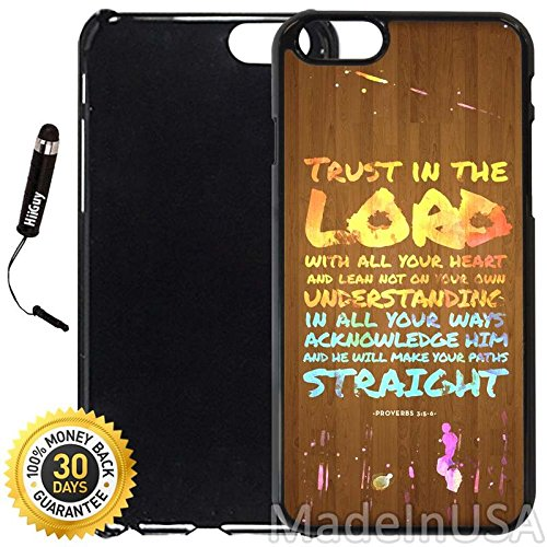Custom Iphone 6 Plus 6S Plus Case  Bible Verse Trust  Edge To Edge Plastic Black Cover With Shock And Scratch Protection   Lightweight  Ultra Slim   Includes Stylus Pen By Innosub