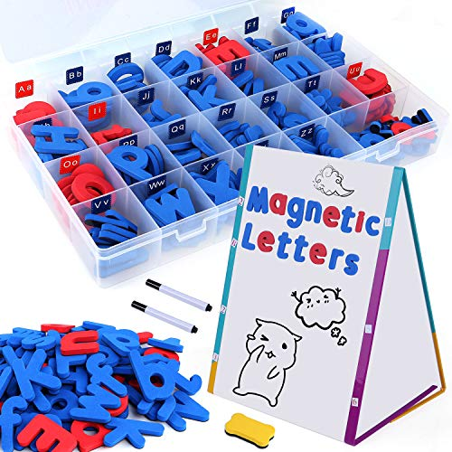 Magnetic Number Set - INNOCHEER Classroom Magnetic Letters and Numbers Kit with Easel Board, Educational Foam Alphabet ABC Magnets for Preschool Kids Spelling and Learning (199pcs in Box)