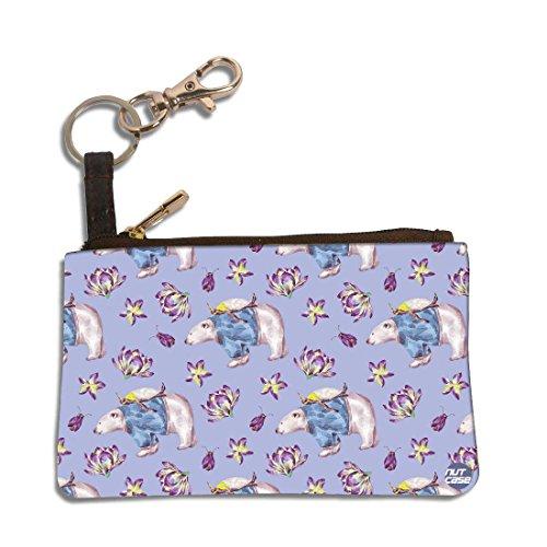 """Riding Bear Polar (Nutcase Designer Earphone Headphone Zipper Pouch Case With Keychain Backpack Clip Bag Accessory PU Leather Stylist Coin Purse 4.5""""x3"""" - Polar Bear Riding)"""
