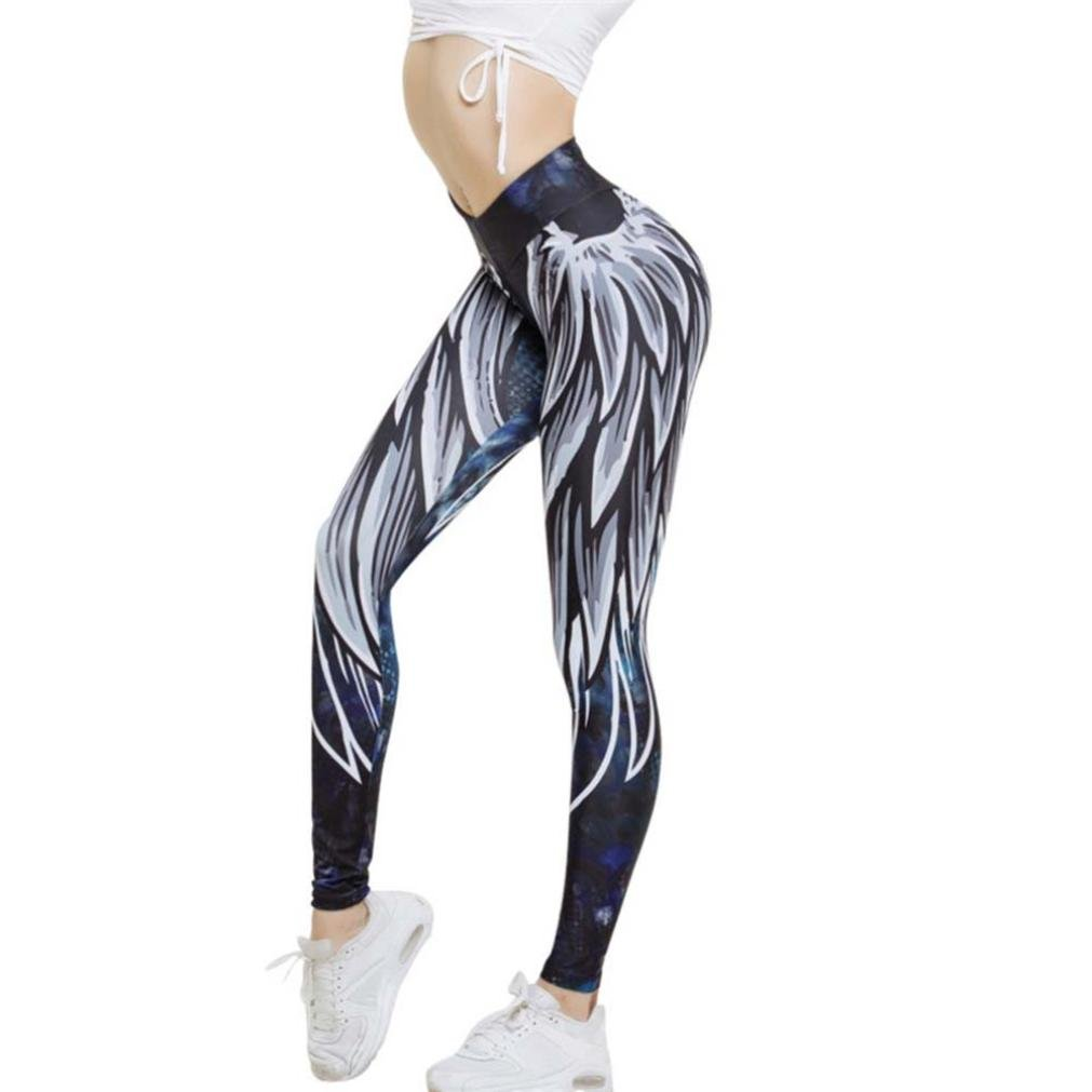 Big Promotion! Neartime Women Wing Printed Yoga Workout Skinny Leggings Fitness Cropped Pants (XL, Blue)
