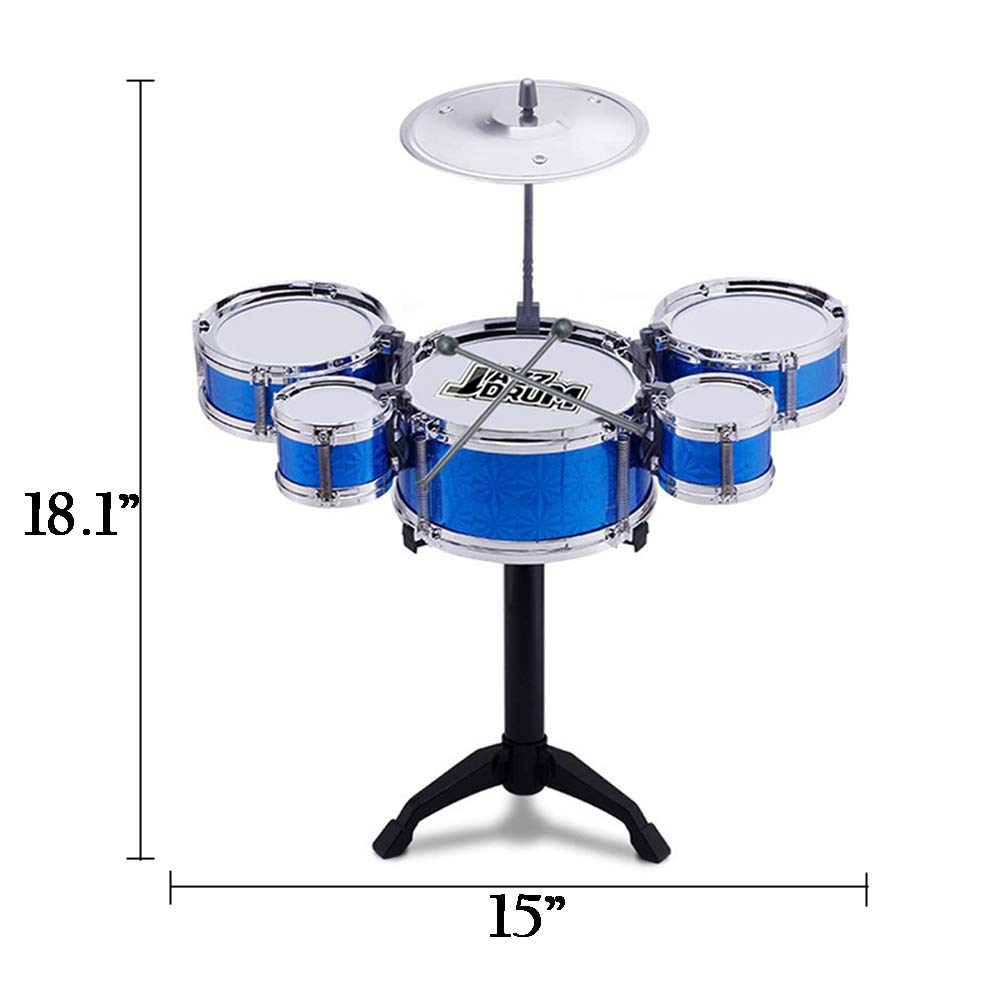 O-Toys 8 Pcs Kids Drum Toy Set Rock Jazz Drum Kit Early Educational Toys with Cymbal Drumsticks Boys Girls Christmas Gift for Kindergarten Nursery School