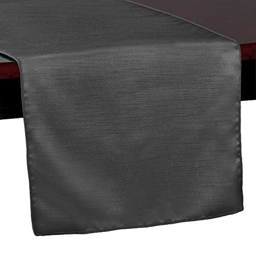 Ultimate Textile -10 Pack- Reversible Shantung Satin - Majestic 14 x 72-Inch Table Runner, Charcoal -