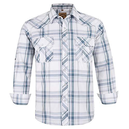Coevals Club Men's Button Down Plaid Long Sleeve Work Casual Shirt (White Plaid #28, 2XL)