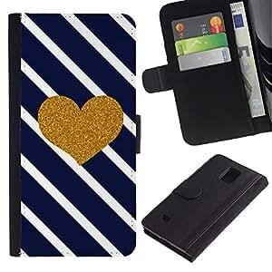 iKiki Tech / Cartera Funda Carcasa - Heart Glitter Lines Navy Blue Love - Samsung Galaxy Note 4 SM-N910F SM-N910K SM-N910C SM-N910W8 SM-N910U SM-N910