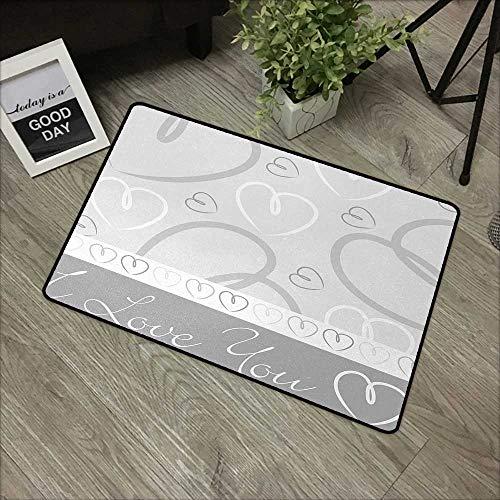 pad W24 x L35 INCH Silver,Cute Romantic Hand Drawn Doodle Heart Shapes I Love You Phrase and Border,Silver White Gray Non-Slip, with Non-Slip Backing,Non-Slip Door Mat Carpet