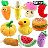 SHARLOVY Plush Vegetable Dog Toy Set for Puppy, Squeaky Dog Toys 10 Pack Cute Stuffed Fruits and Vegetables Dog chew Toys for Small Dogs