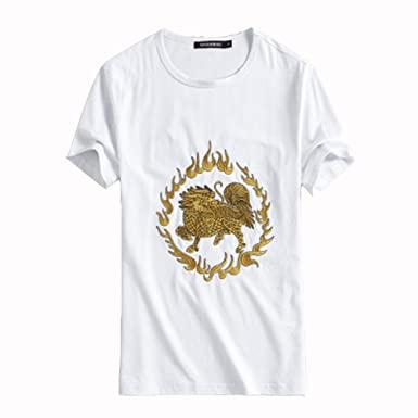 df4258790eb ZHLDX Chinese Style Men s T Shirt Summer Fashion Embroidery T Shirts Mens  Clothes Slim Fit O