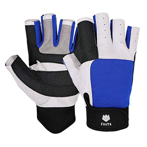 FitsT4 Sailing Gloves 3/4 Finger and Grip Great for Sailing, Yachting, Paddling, Kayaking, Fishing, Dinghying Water Sports for Men and Women Blue XL