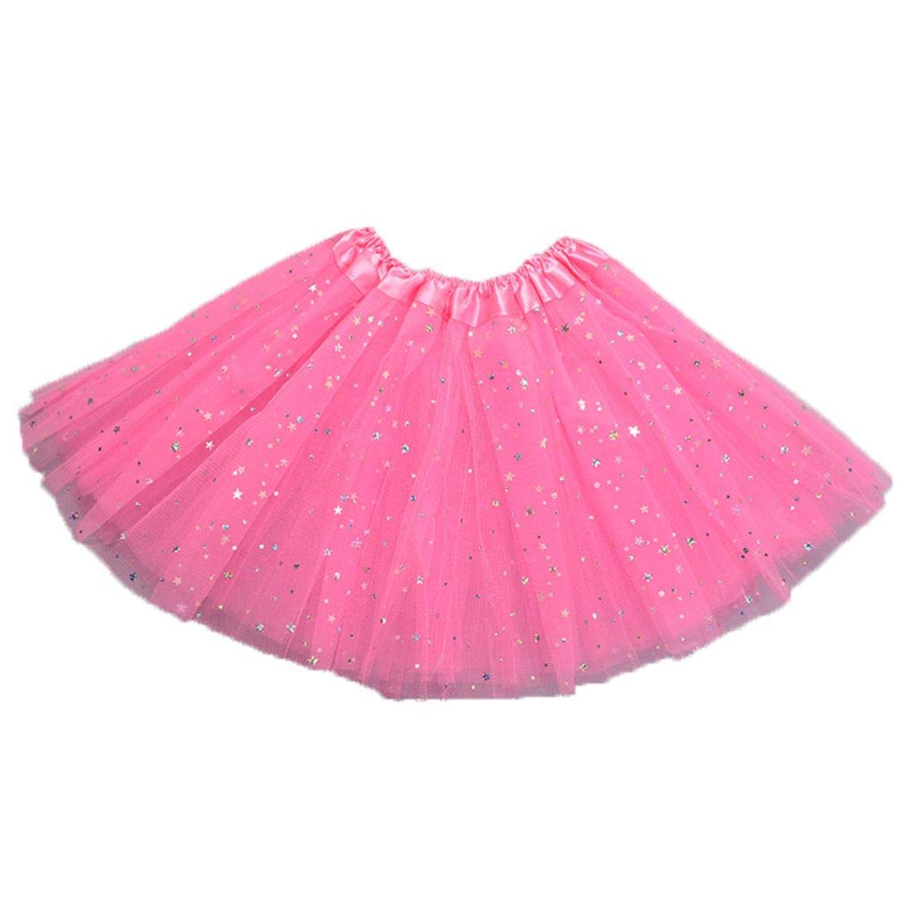 Meiyuan 3 Layers Kids Girls Star Sequins Dance Ballet Skirt Princess Sparkling Dress-up Tutu