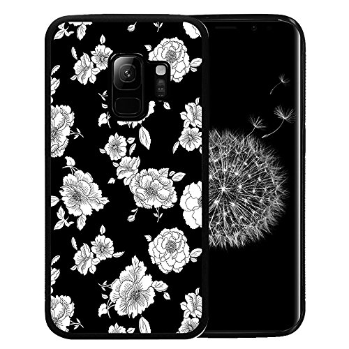 Samsung Galaxy S9 Case, Customized Black Soft Rubber TPU Case For Back Cover for 5.8 Inch Galaxy S9 2018 White petal in the dark (Hello Kitty Neo Phone)