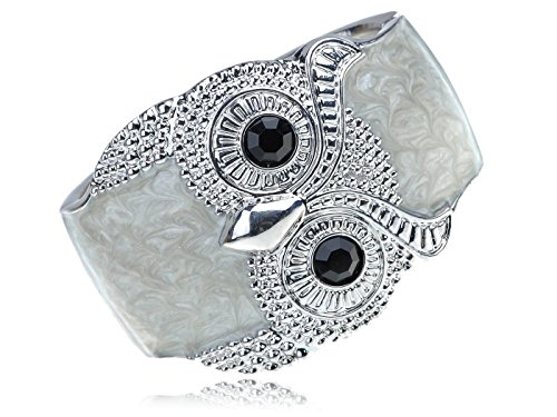 Alilang Silvery Shiny Tone Owl Bird Cream Enamel Glossy Swirl Cloudy Bracelet Bangle Cuff