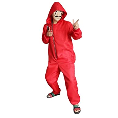 La Casa De Papel Costume with Salvador Dali Mask Cosplay Costume Red Coverall