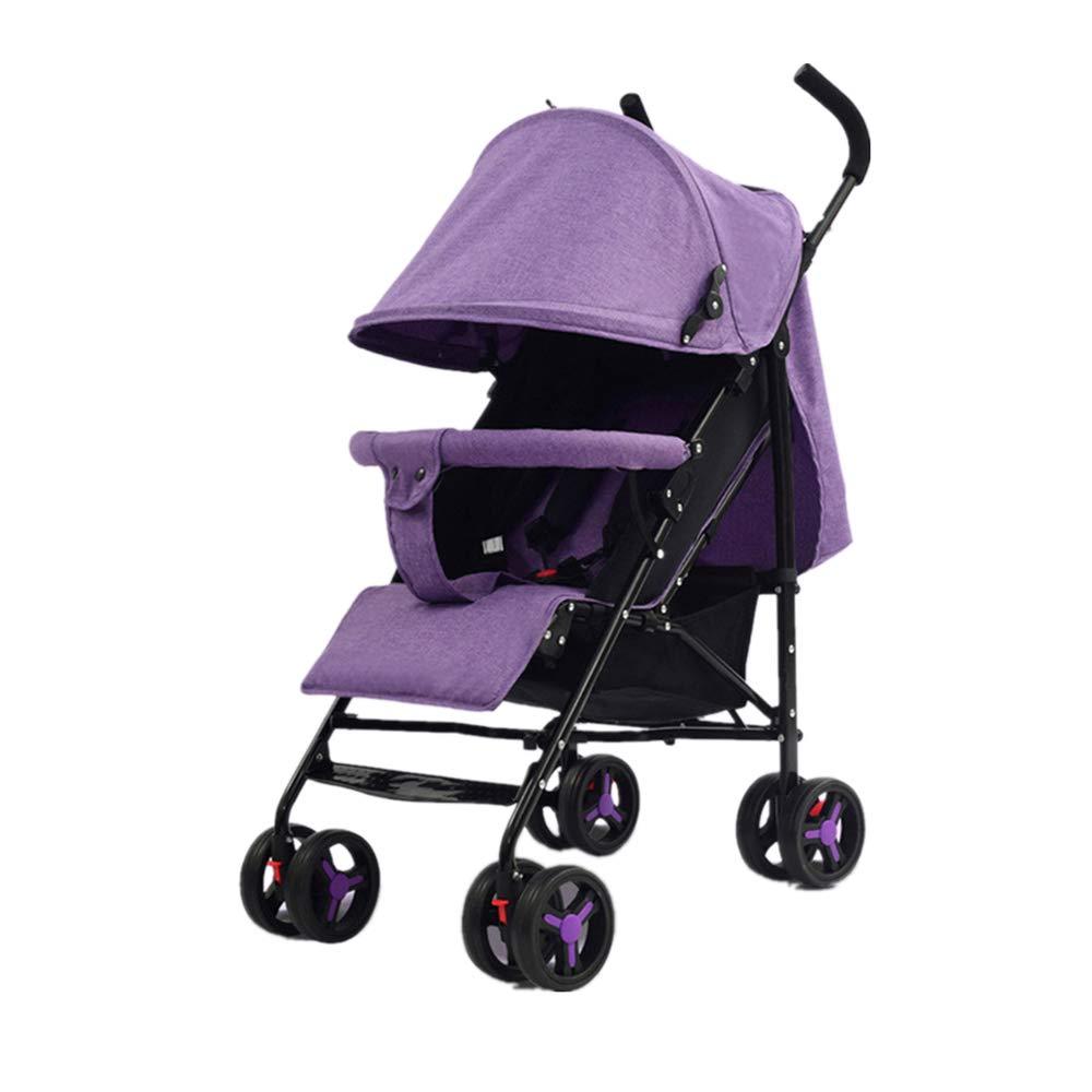 ベビーカー 折りたたみおよび運ぶこと容易な涼しい携帯用赤ん坊の屋外のベビーカーの赤ん坊の揺りかご エレガントで豪華な耐衝撃性 (色 : 紫の)  紫の B07T6L2R4H